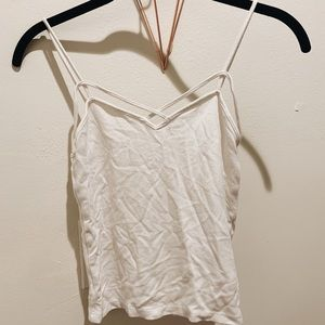 White tank top with cross detailing